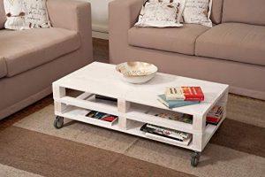 Mesa de Palets de Madera con Ruedas color Blanco para Interior & Exterior & Salon & Jardin & Terraza 1