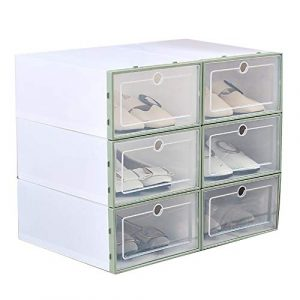Hvoz Caja de Zapatos de plástico Transparente con diseño de Zapatero 1