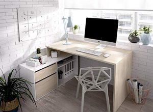 LIQUIDATODO ® - Mesa de estudio 139 cm moderna y barata en natural y blanco brillo 3