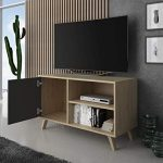 SelectionHome - Mueble TV 100 con puerta, mueble de salon comedor, Modelo Wind, color Puccini y Gris Antracita, medidas: 92 cm (largo) x 40 cm (fondo) x 57 cm (alto) 18