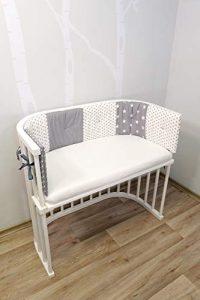 ULLENBOOM Protector para bordes de cuna │ Chichonera bebé también para colecho │ Parachoques de algodón 145 x 24 cm │ estrellas grises 7