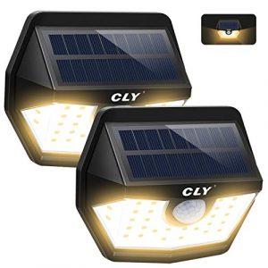 Luz Solar Exterior CLY 3000K,Aplique Solar 30 LED Blanco Cálido,foco Solar Con Sensor de Movimiento 450LM,Ángulo de luz 200ºImpermeable IP65 para Jardín, Patio,Camino[2 Paquete] 3