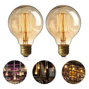 Zorara Bombillas Vintage E27 40W,Edison Lamparas G80 Regulable Bulbo Filamento Blanco Cálido- 2 Piezas [Clase de eficiencia energética E] (Blanco cálido) 1