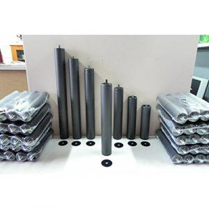 Abitti Pack 6 Patas cilíndricas METALICAS 35cm Altura Especial, ANTIRUIDO para Base TAPIZADA o SOMIER. Montaje rápido y fácil 1