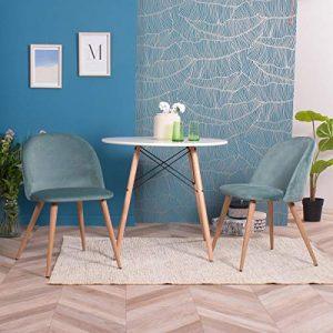 Furnish 1 Juego de 2 sillas de Comedor tapizadas de Terciopelo con Patas de Metal - Aqua 2