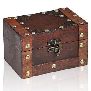 Brynnberg Caja de Madera Rivet 14x9,5x8,5cm - Cofre del Tesoro Pirata de Estilo Vintage - Hecha a Mano - Diseño Retro - joyero 4
