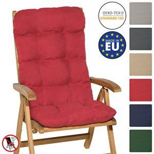 Beautissu Flair HL - Cojín para sillas de balcón Asiento Exterior con Respaldo Alto - 120x50x8 cm - Rojo 9