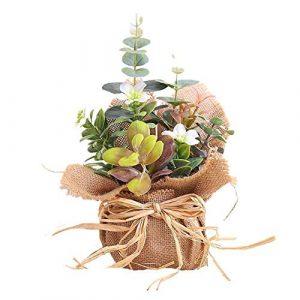 BIGBOBA Lavanda Plantas Artificiales-Maceta de Tejido de lino flores Artificiales Decorativas de Hogar Oficina Mesa de Centro, Alféizar, Balcón 5