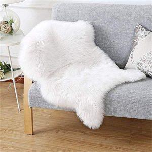 Piel de cordero oveja/Sheepskin Rug Cordero, imitación mullida Alfombras imitación piel sintética Deko piel,para salón dormitorio baño sofá silla cojín (50 X 80 cm, Blanco) 10