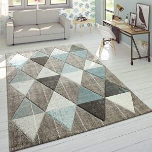 Alfombra De Diseño Moderna Contorneada En Colores Pastel con Rombos Beige Y Azul, tamaño:160x230 cm 4